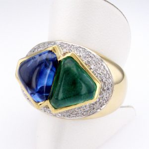 Emerald and Sapphire Cabochon 18 ct Gold Ring with White Diamond Clusters